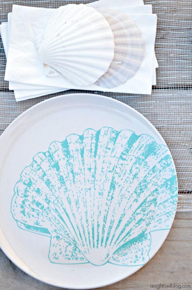 Seascape Plates from World Market #SummerFun