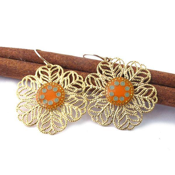#Dangle, #Earrings, #Jewelry Gols dangle  earrings  Lace  Earring orange & by SigalitAlcalai - http://www.judaic-jewelry.com/earrings/gols-dangle-earrings-lace-earring-orange-by-sigalitalcalai.html