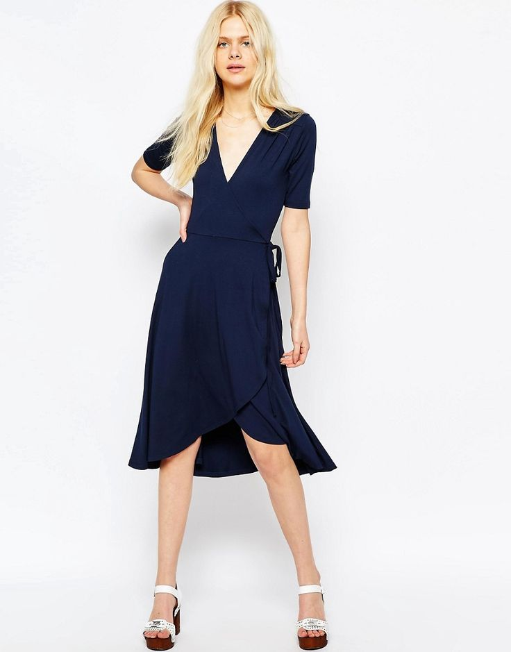 Image 1 of ASOS Midi Tea Dress With Wrap Front
