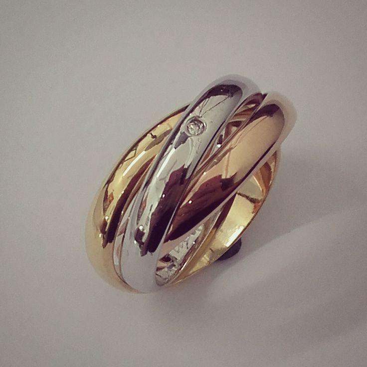 Anillo tres oros 18kt y diamante