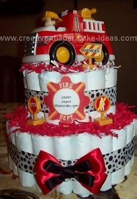 Firetruck Diaper Cake U003eu003e Discover More By Checking Out The Picture. Find  This Pin And More On Fireman Baby Shower ...