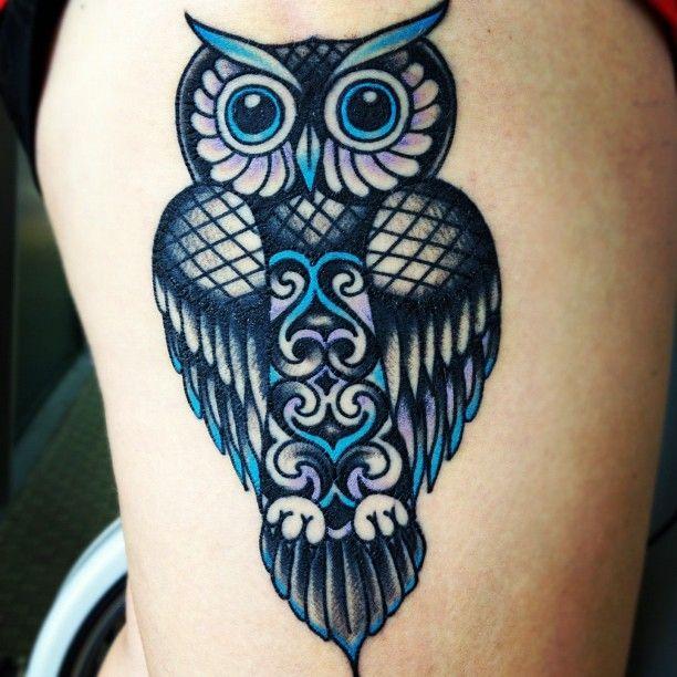 thigh owl tattoo