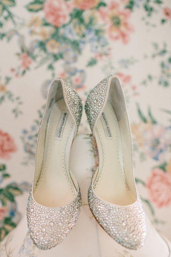 Glittery silver wedding flats for bride