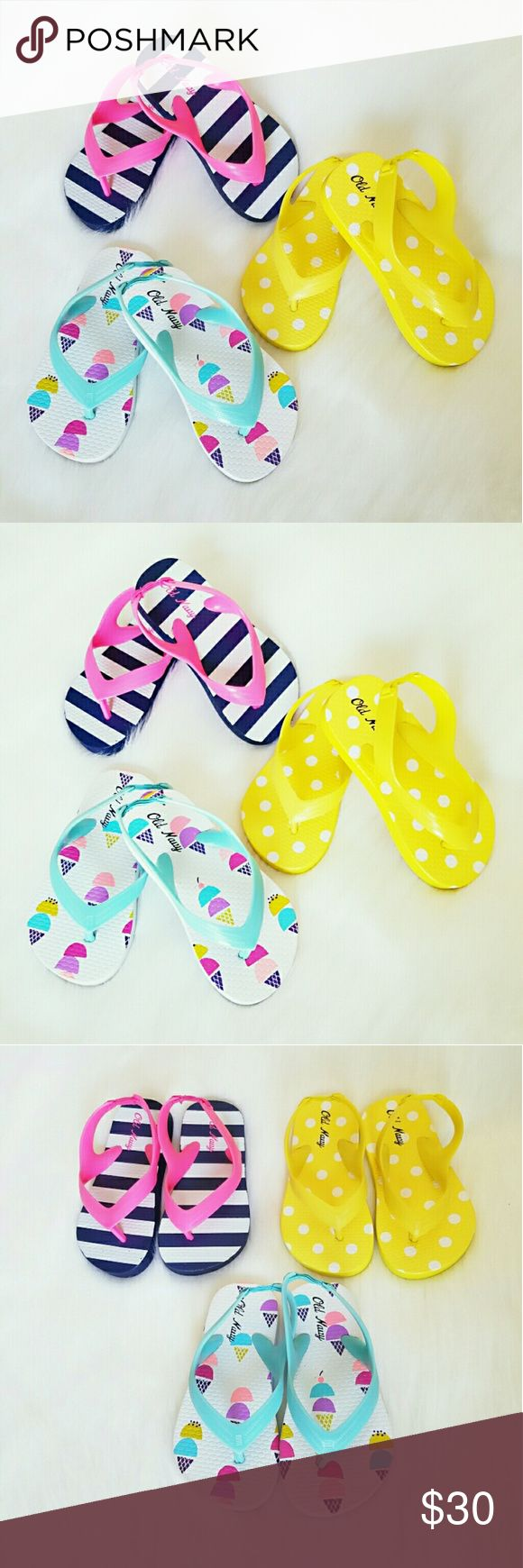 Toddler Flip Flops Get ready for warmer weather in these adorable flip flops. This listing is for 3 pairs.  -Flip-flops feature rubberized upper and synthetic sole. -Straps extend to back and have elasticized heel strap for easy on-and-off. -Firm, non-slip footbed with all-over print. -Textured rubberized outsole for added traction. Old Navy Shoes Sandals & Flip Flops