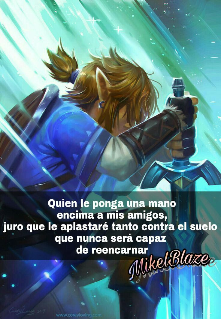 Frases anime, amistad, proteger, the legend of zelda breath of the wild, espada maestra Link