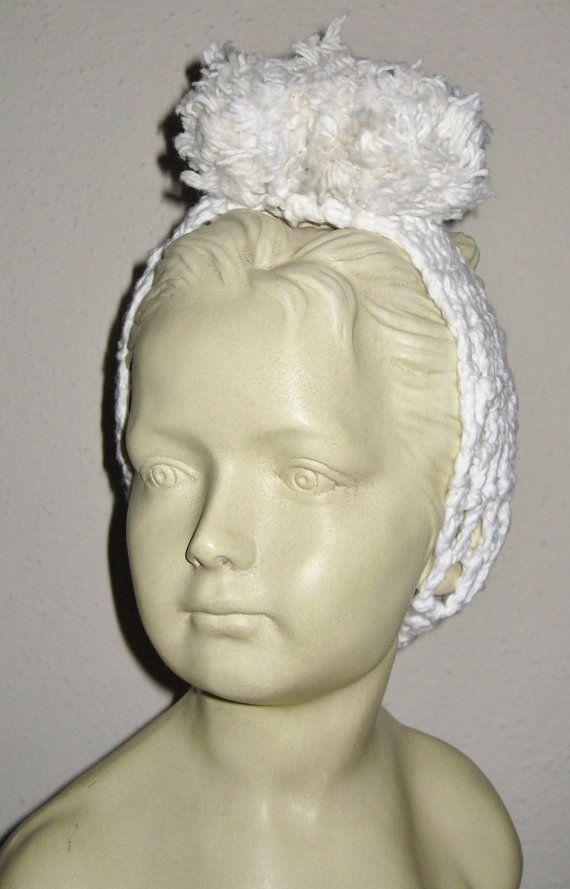 Versatile Pom Pom Hair Band Hand Crocheted Creamy by burlapbikini, $20.00