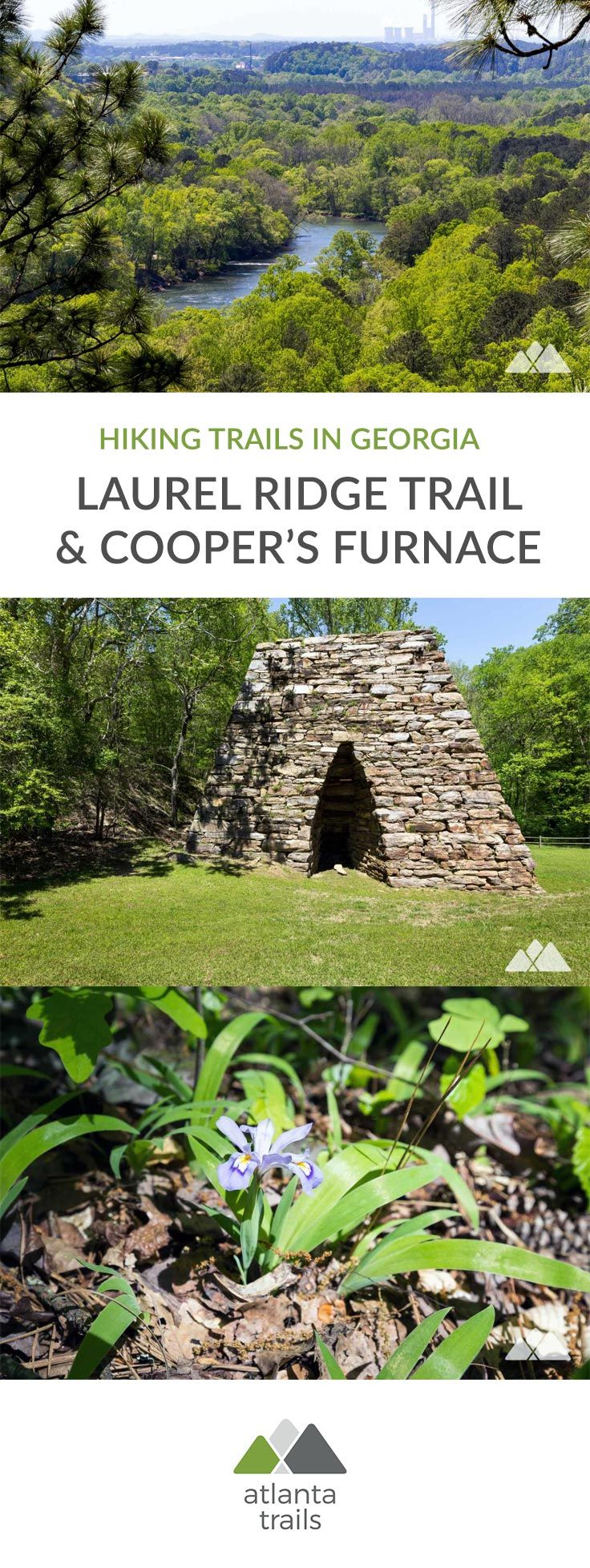 Hike a scenic loop on the Laurel Ridge Trail and Cooper's Furnace Trail, exploring a historic, stacked-stone iron furnace and climbing to high-elevation views of Allatoona Lake, the Etowah River and Allatoona Dam. #hiking #trailrunning #atlanta #georgia #travel #outdoors #adventure