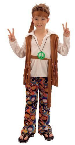 From 6.93 Hippy Boy Fancy Dress Costume : Large 8 - 10 Yrs