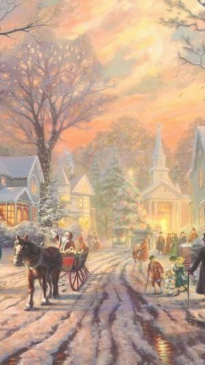 Street, Holiday, Winter, Old, City | Fête | Télécharger le fond d'écran 1080x1920. Téléphones Mobiles, Apple iPhone 6 Plus :: WallpapersFund.com