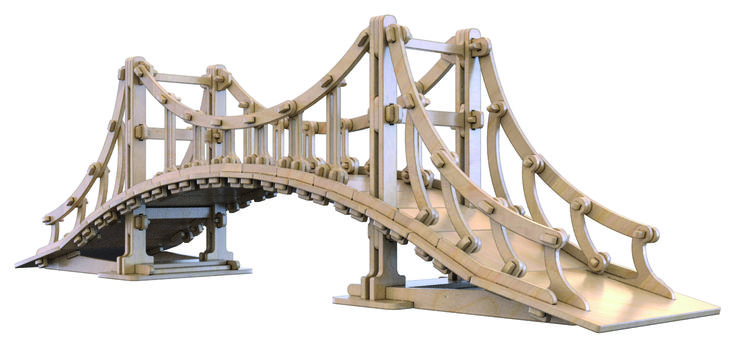 """Çok parçalı yapboz """"Cidagu Asma Köprü"""" köprü serileri birinci ürünüdür. Çocuklara asma köprüyü tanıtıp nasıl yapıldıkları ile ilgili fikir vermektedir. Bu ürün yapboz ahşap parçalardan oluşmuş ve gerçeğiyle aynı aşamalarda ve prensiplere benzer yapılmaktadır. Çocuğun İcatçı, keşifçi yönünü geliştirir. Çocuk alternatif tasarım fikirleri geliştirebilir. Huş ağacından üretiliyor. Ürün 286 ahşap parçalardan oluşmuştur. Boyanabilir. Ahşap kutusu ile birlikte kullanım kitapçığı mevcuttur."""