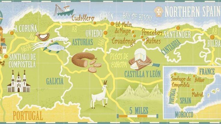 Map  of Food, land and faith northern Spain - cartographik.com