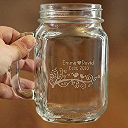 Personalized Engraved Wedding Mason Jars Decoration Glass Mason Jar Mug Beer Mugs Wedding Favor Mason Jars 16oz for Wedding Glass Mason Jars with Handles Christmas Gift for Couples