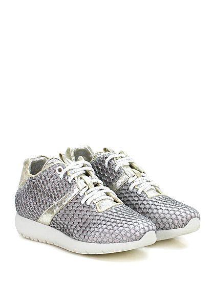 Andia Fora - Sneakers - Donna - Sneaker in tessuto tecnico e retina con glitter con suola in gomma. Tacco 30, platform 15 con battuta 15. - SILVER\ICE