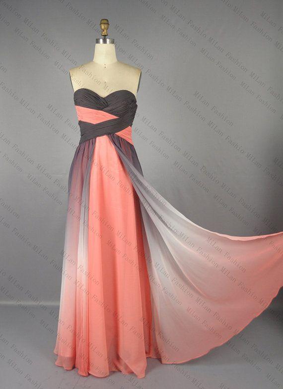 Gradient Chiffon Prom Dress,Bridesmaid Dress, A Line Strapless Sweetheart Wedding Dress, Evening Dress,Wedding gown,Prom Gown on Etsy, $182.76 AUD