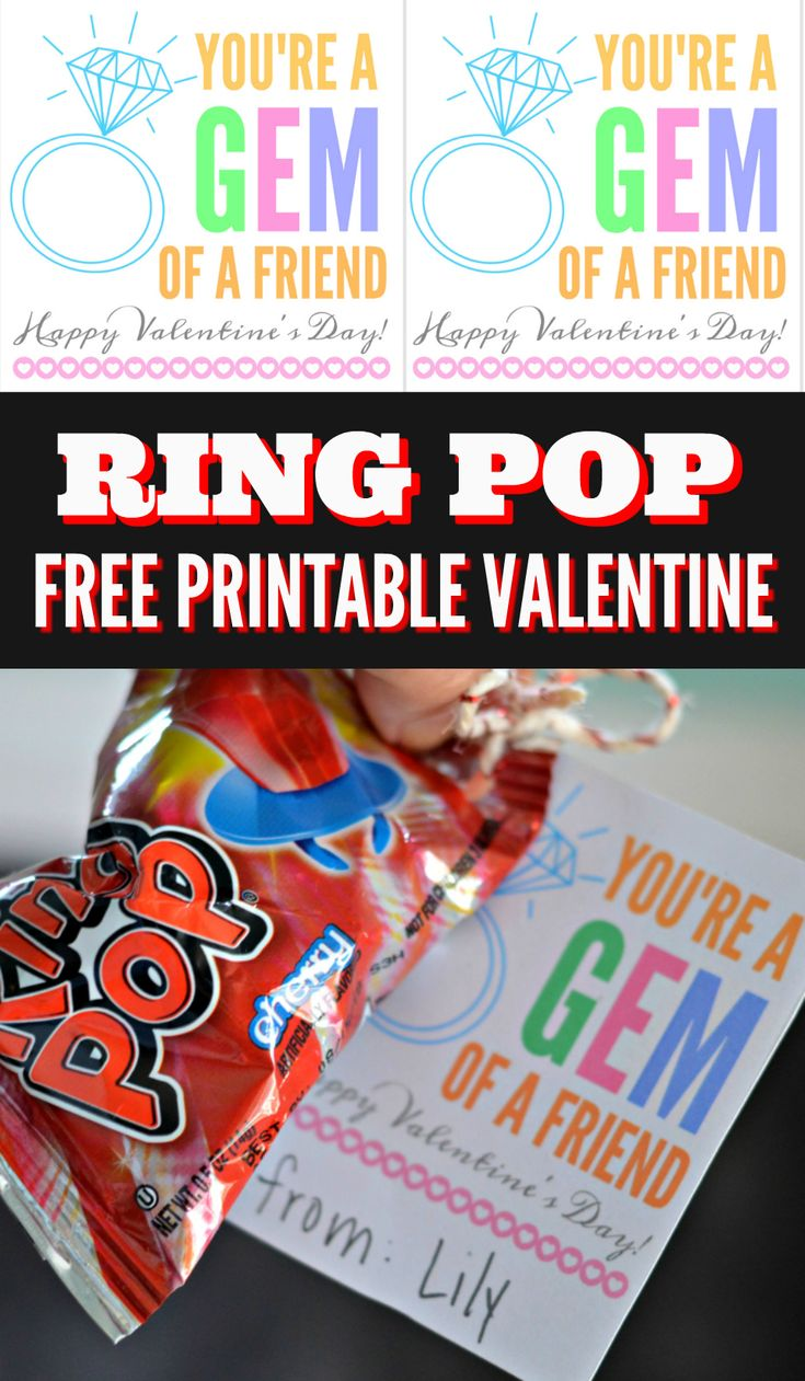 """You're a Gem of a Friend"" Ring Pop Valentine's Day Idea – Hip2Save"