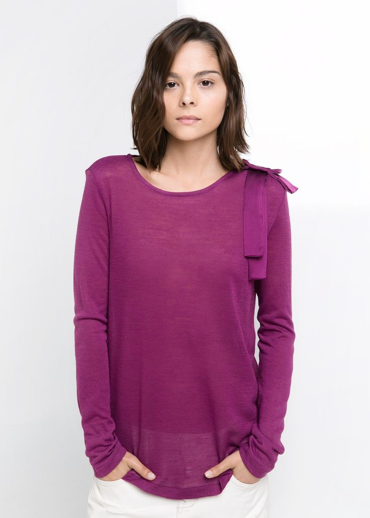 Wollen T-shirt met strik Mango