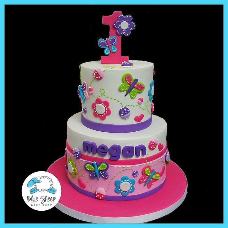 Megan's Butterflies and Ladybugs 1st Birthday Cake – Blue Sheep Bake Shop