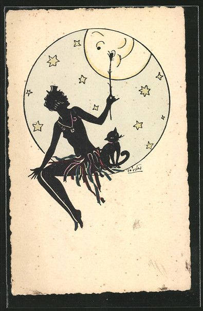 old postcard: Künstler-AK sign. Förster: Frau mit freiem Oberkörper hält einen Ast dem schmunzelnden Mond entgegen