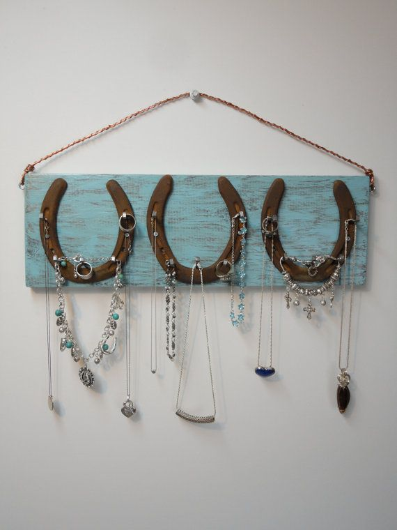 Horseshoe Jewelry Hanger Solid Wood 17 X 5 by MissKarensKreations....SOLD......