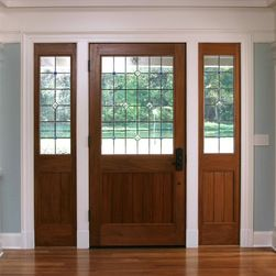 craftsman style front door with glass