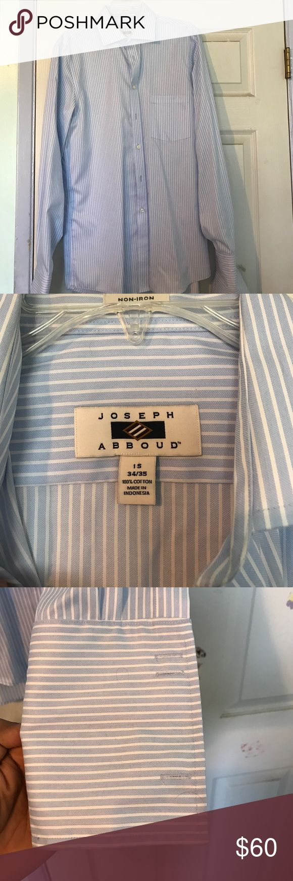 Joseph Abboud non iron dress shirt Blue striped French cuffed dress shirt worn once not stains or damaged non iron (cuff links not including) joseph abboud Shirts Dress Shirts