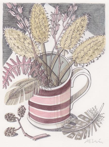 mug with teasels - angie lewin