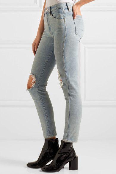3x1 - W3 Distressed High-rise Slim-leg Jeans - Light denim - 30