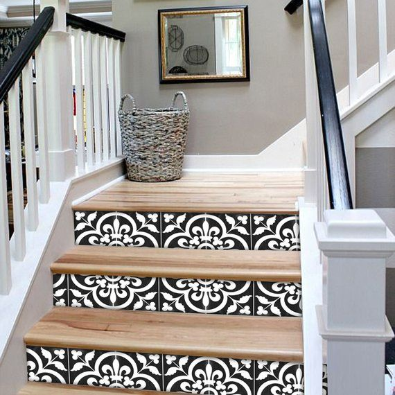 Stair Riser Stickers Removable Stair Riser Tile Decals Etsy Stair Riser Vinyl Stair Riser Decals Stair Risers