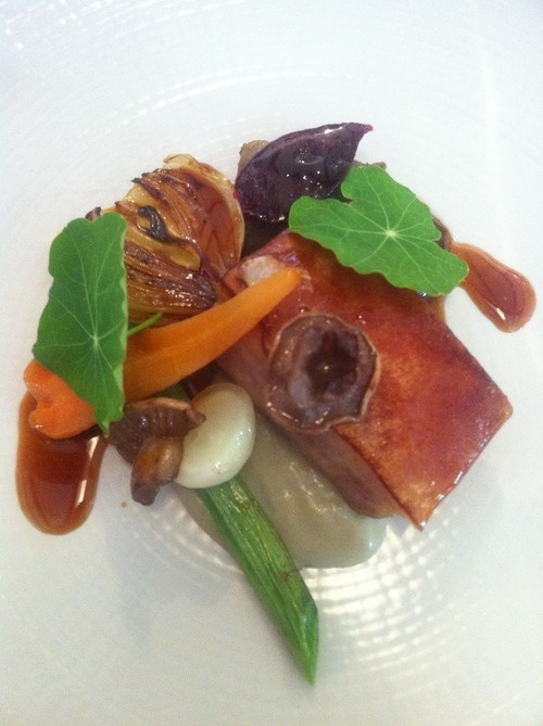 Suckling Pork with a mead sauce and veges - Simon Rogan's Great British Menu at Rogan & Co. | Mrs Petticoat | Food Blog