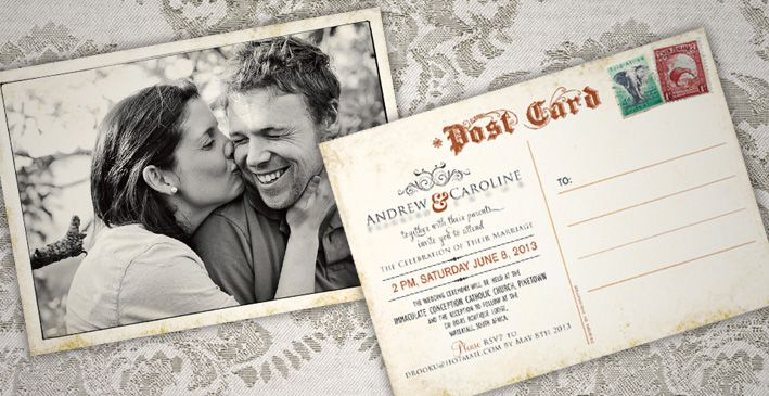The brief From the get go Andrew and caroline had a firm idea of what they were after for their wedding invitation. They liked the look and feel of vintage postcards, with their ornate typography and the aged worn feel they evoke. They already had a great photo to use for the front of theRead more