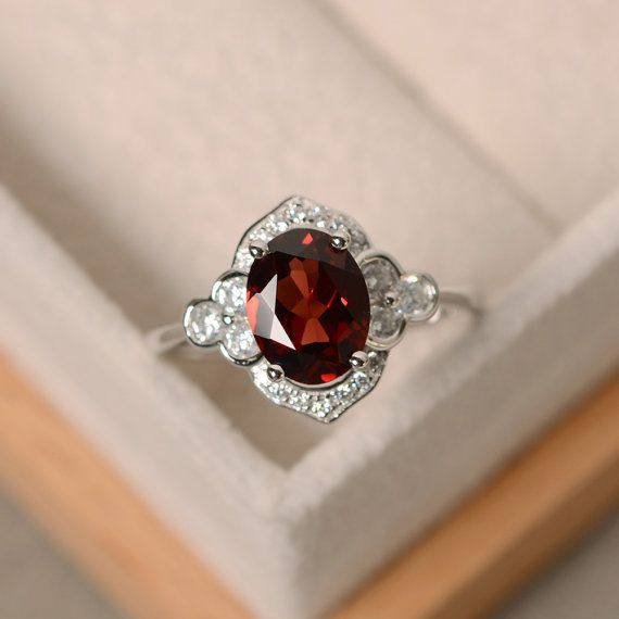 Oval garnet ring engagement ringsterling silver by LuoJewelry
