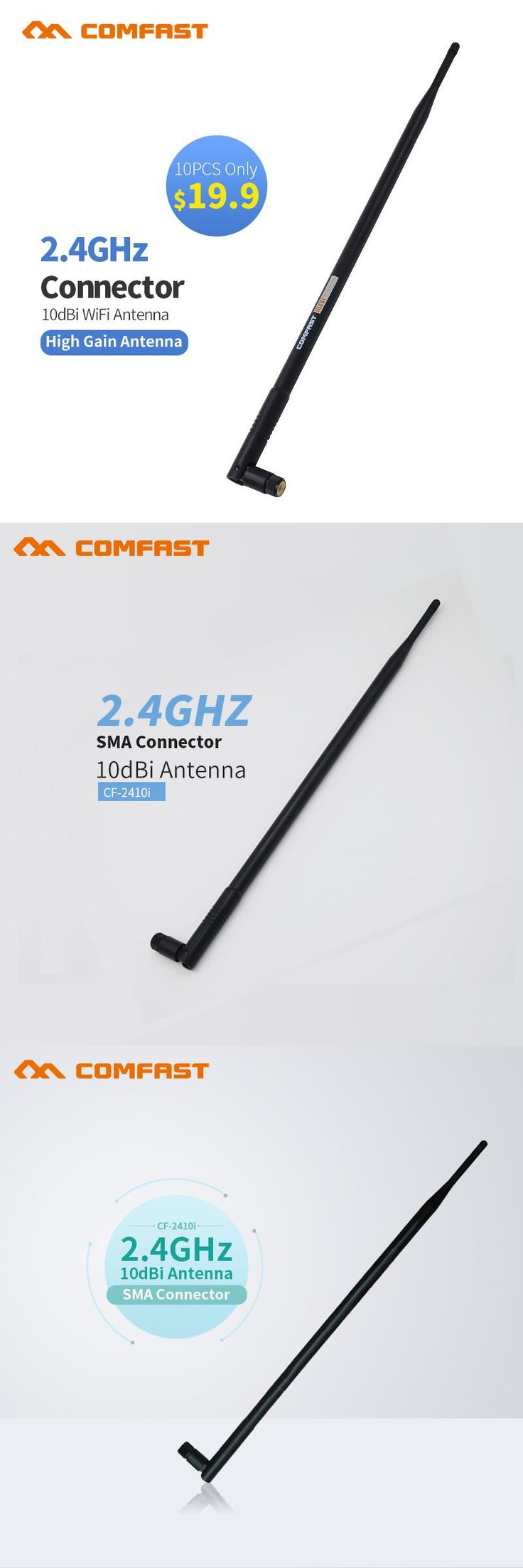 [Visit to Buy] 10pcs Comfast CF-ANT2410I 2.4 GHz 10dBi 802.11b/g WiFi Antenna Aerial RP-SMA Male Connector PCI Card USB Wireless Router Router #Advertisement