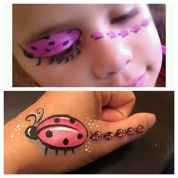 cute lady bug with babies following face painting idea.