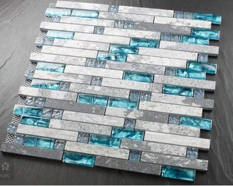 Blue shell tile glass mosaic kitchen backsplash tiles SGMT026 grey stone bathroom tiles glass stone mosaic tile free shipping [SGMT026] - $19.83 : MyBuildingShop.com