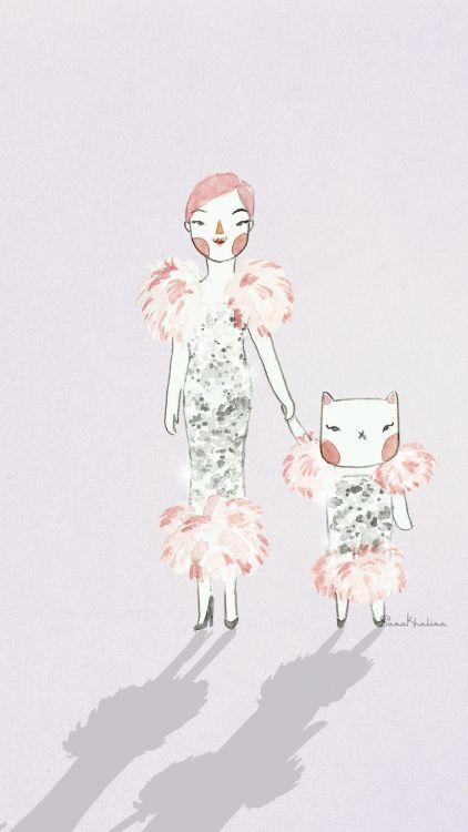 Twinning with Sassy the Cat | watercolor fashion illustration by Sasa Khalisa
