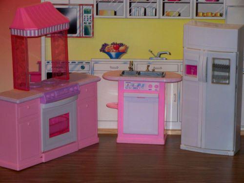 mattel barbie folding pretty house collection dollhouse furniture kitchen set barbie mattel. Black Bedroom Furniture Sets. Home Design Ideas