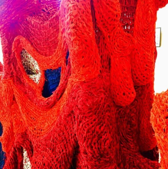 Red knit coral by Evelina Kollberg at the Modern Art Museum in Stockholm
