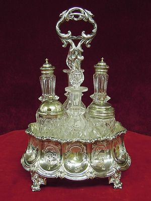 Antique Victorian Cruet Set.  Could we use this for perfumes and oils in the bedroom?  Beautiful set.