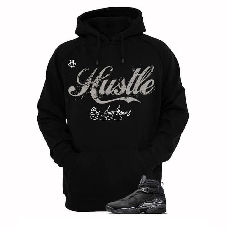 Hustle By Any Means Chrome 8s Black Hoody