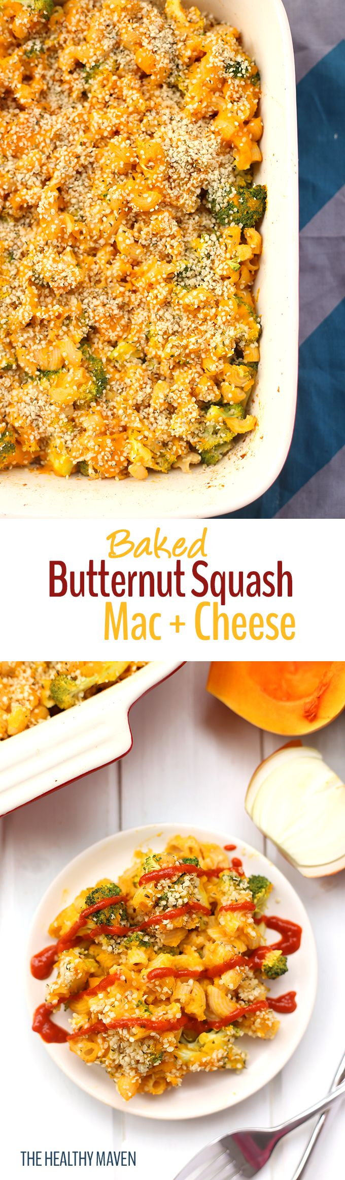 "Ditch the dairy with this vegan Baked Butternut Squash Mac and Cheese Recipe! It's made with gluten-free noodles, a health-kick from broccoli and a fake-out ""cheese"" sauce made from butternut squash and cashew milk! #meatlessmondaynight"