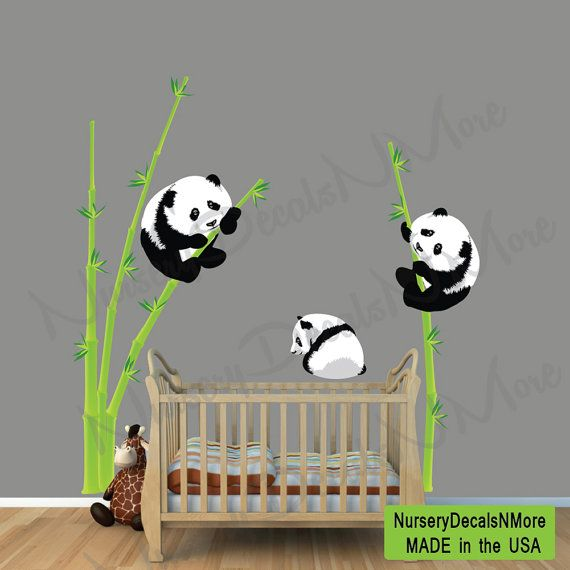 Panda Wall Decals | Panda Bear Wall Decal, Bamboo Wall Sticker, Repositionable, Reusable