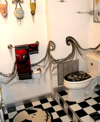 """The Nightmare Before Christmas"" Bathroom. This works for Halloween and Christmas time. | #christmas #xmas #holiday #decorating #decor #halloween"