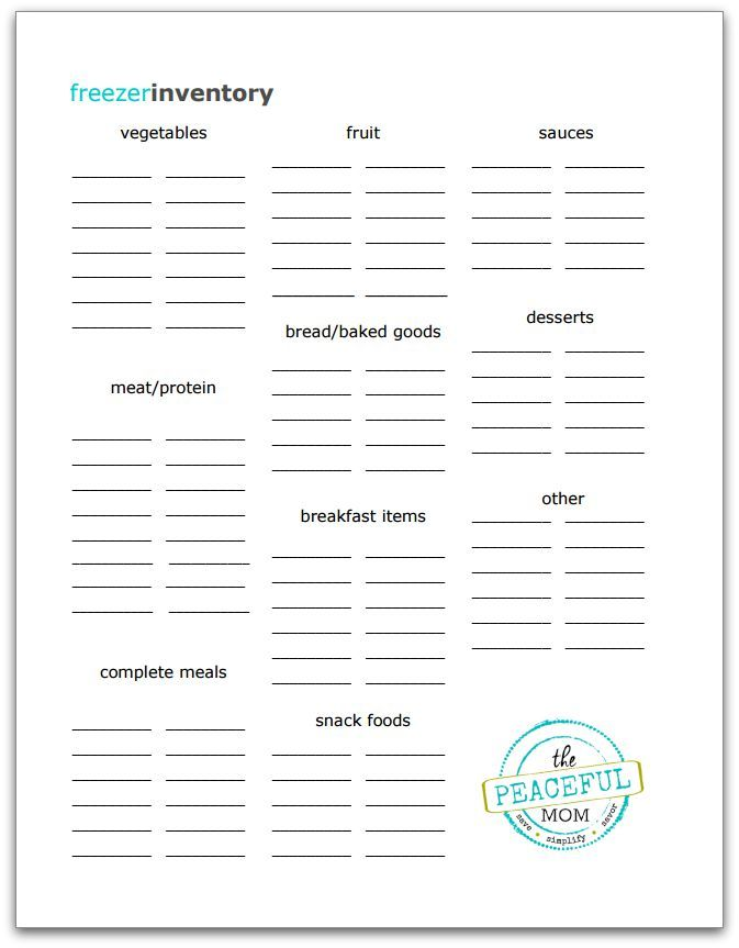 Freezer Inventory Printable Photo -- The Peaceful Mom
