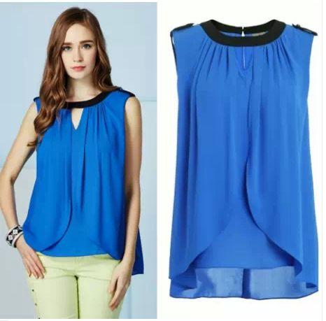 Nuevo 2014 sin mangas ocasional ropa de mujer de diseño verano de gasa blusa 3 colores blusas femininas