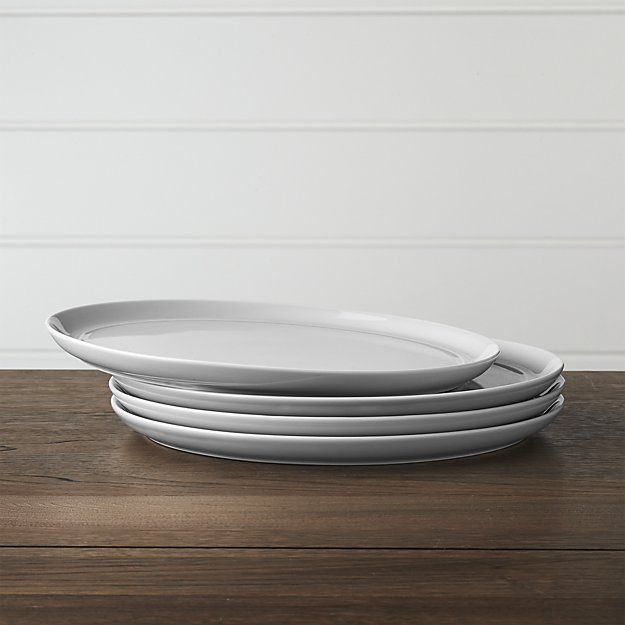 Set of 4 Hue Light Grey Dinner Plates | Crate and Barrel
