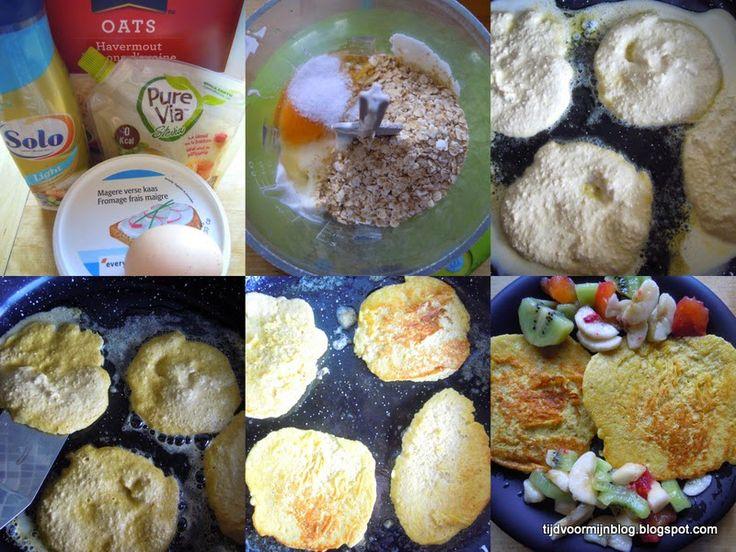 Havermoutpannenkoekjes Weight Watchers Recepten (met Propoints of Telvrij/Groen logo): Havermoutpannenkoekjes met vers fruit.