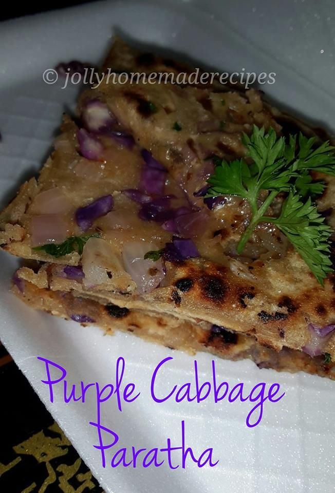 Purple Cabbage Paratha recipe - It is a uniquely flavourful flatbread and comes with goodness of shredded purple cabbage.
