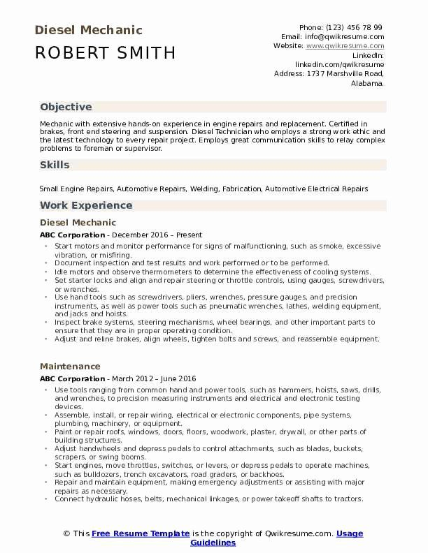 Auto Mechanic Resume Objective Examples Fresh Diesel Mechanic Resume Samples In 2020 Medical Assistant Resume Resume Examples Resume Objective Examples