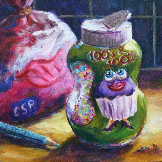 Title: Hundreds and Thousands    This is one of my favourite paintings which was in her exhibition called 'Butter and Sugar'. I love the bright vibrant colours and the sweet cheeky face on the cupcake on the 100's and 1000's container.