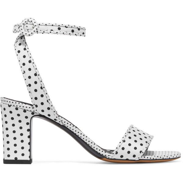 Tabitha Simmons Leticia polka-dot twill sandals (7.392.240 IDR) ❤ liked on Polyvore featuring shoes, sandals, black and white shoes, black and white high heel shoes, black white sandals, block heel sandals and black and white polka dot sandals